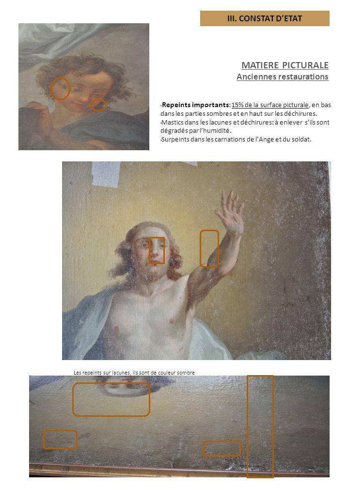 MATIERE PICTURALE III. CONSTAT D'ETAT Anciennes restaurations