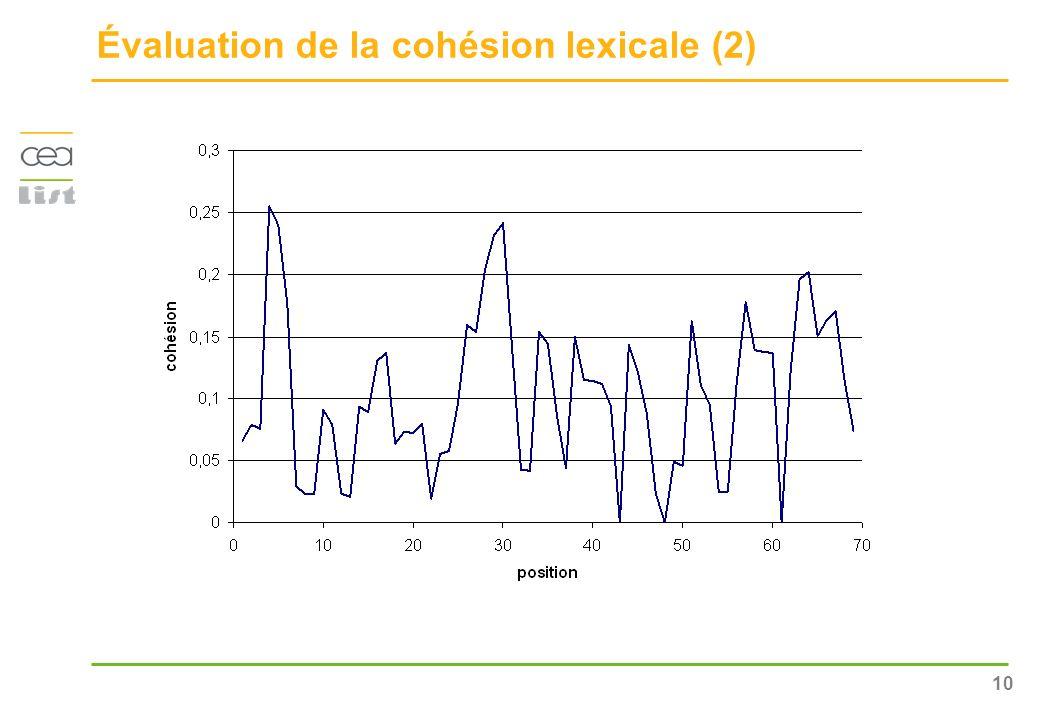 Évaluation de la cohésion lexicale (2)
