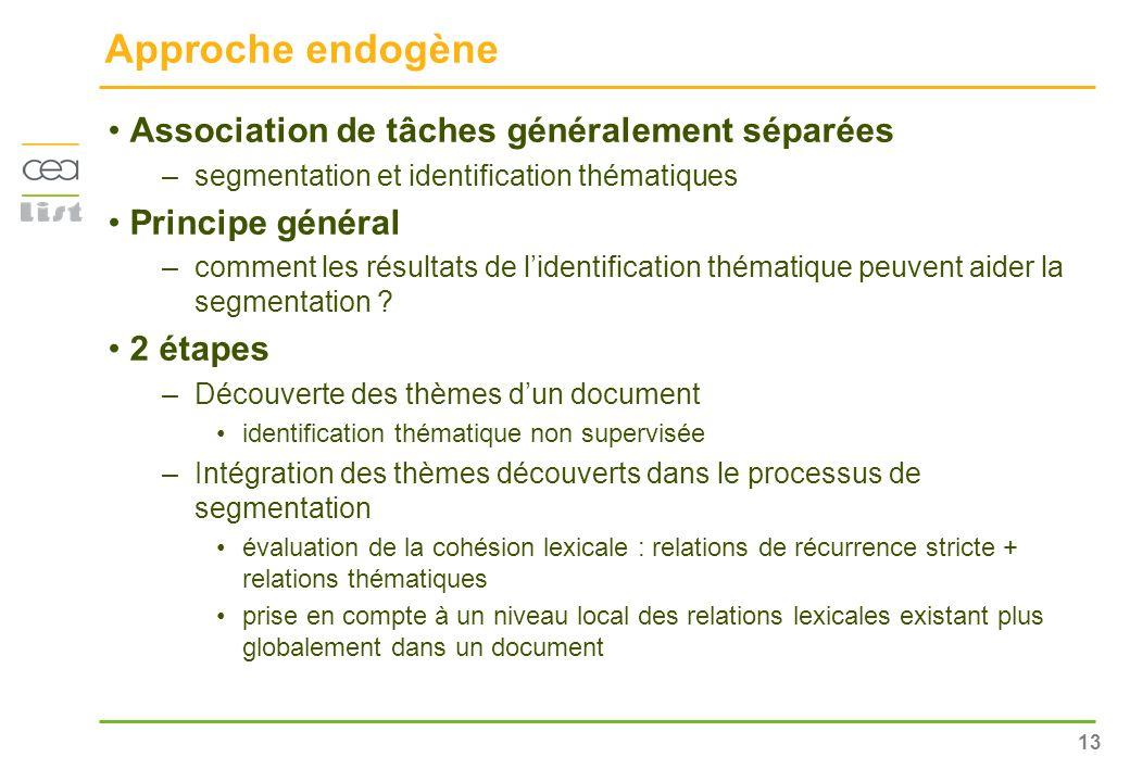 Approche endogène Association de tâches généralement séparées