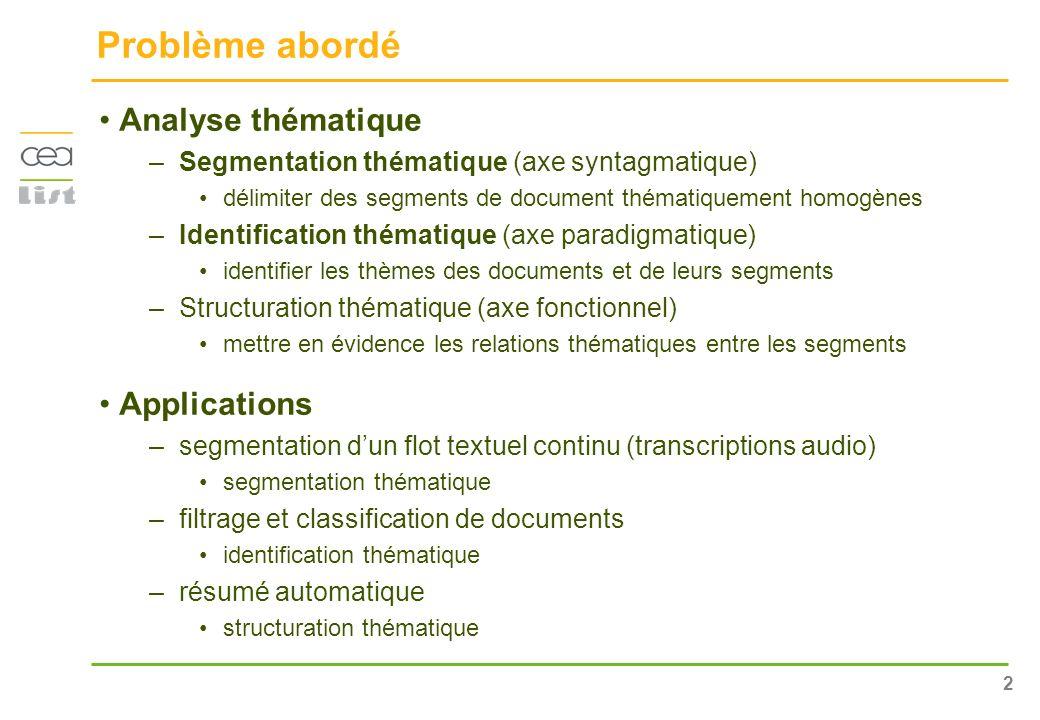 Problème abordé Analyse thématique Applications