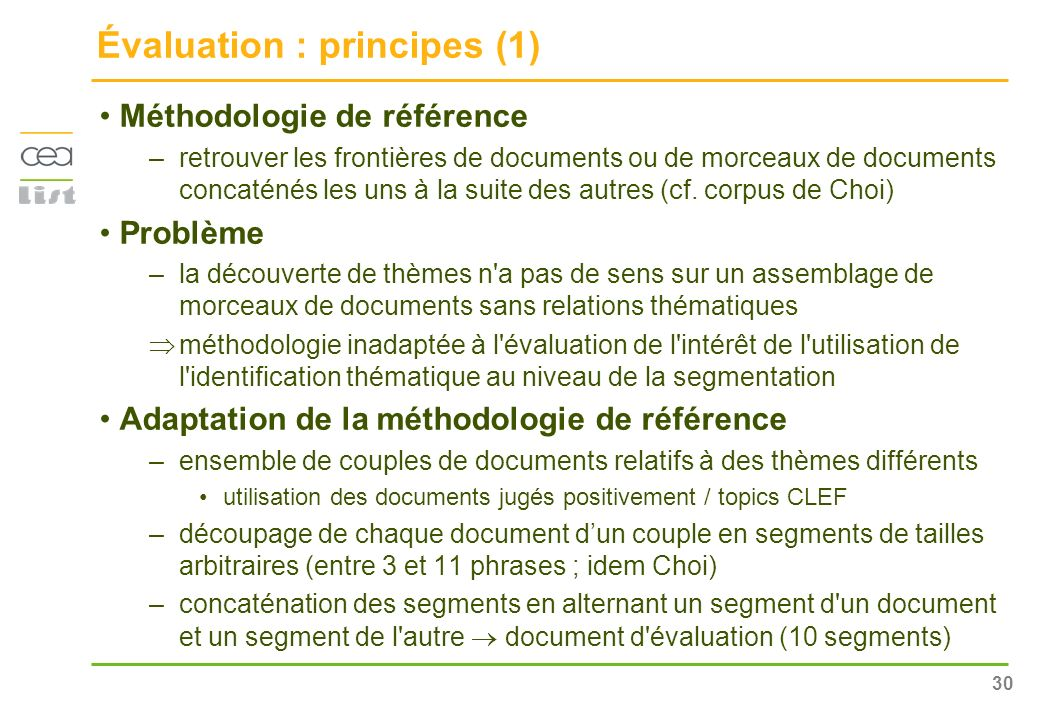 Évaluation : principes (1)