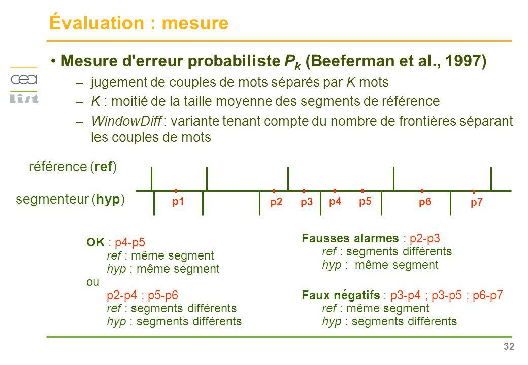 Évaluation : mesure Mesure d erreur probabiliste Pk (Beeferman et al., 1997) jugement de couples de mots séparés par K mots.