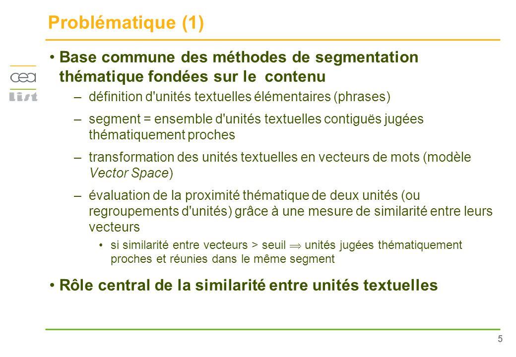 Problématique (1) Base commune des méthodes de segmentation thématique fondées sur le contenu.