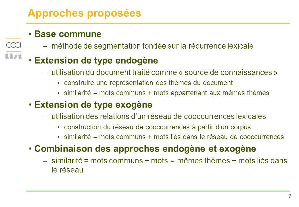 Approches proposées Base commune Extension de type endogène