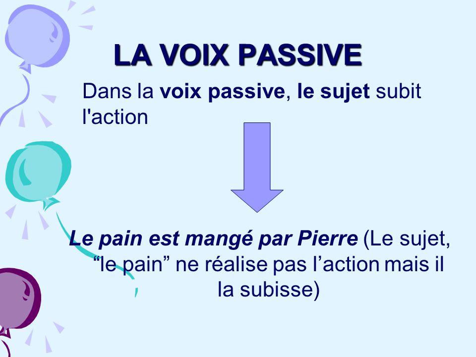 LA VOIX PASSIVE Dans la voix passive, le sujet subit l action