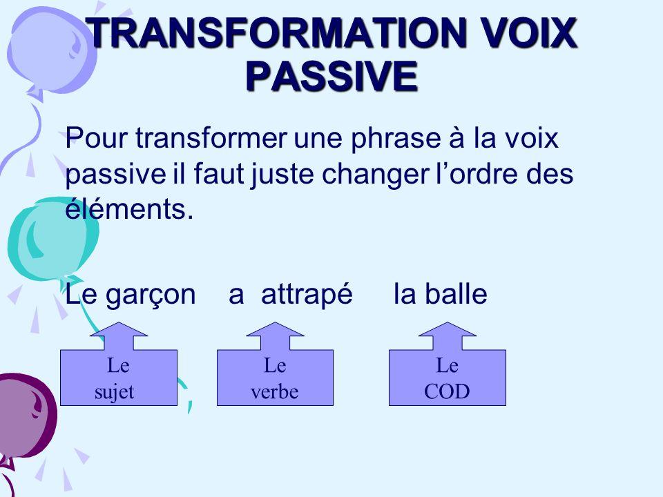 TRANSFORMATION VOIX PASSIVE