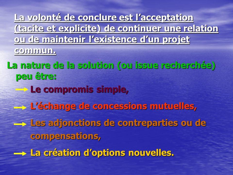 La volonté de conclure est l'acceptation (tacite et explicite) de continuer une relation ou de maintenir l'existence d'un projet commun.