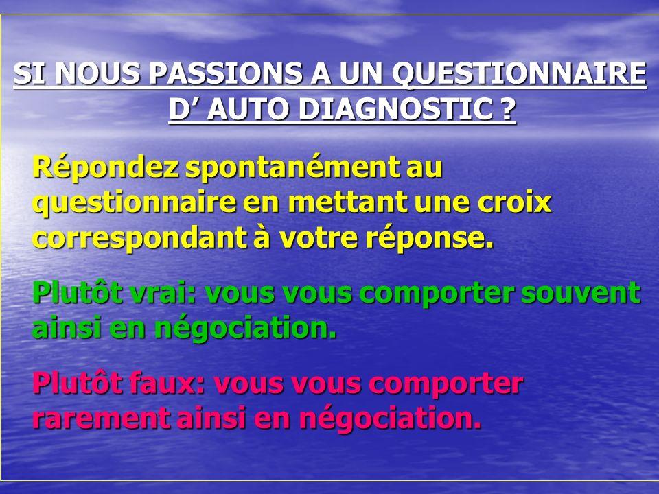 SI NOUS PASSIONS A UN QUESTIONNAIRE D' AUTO DIAGNOSTIC