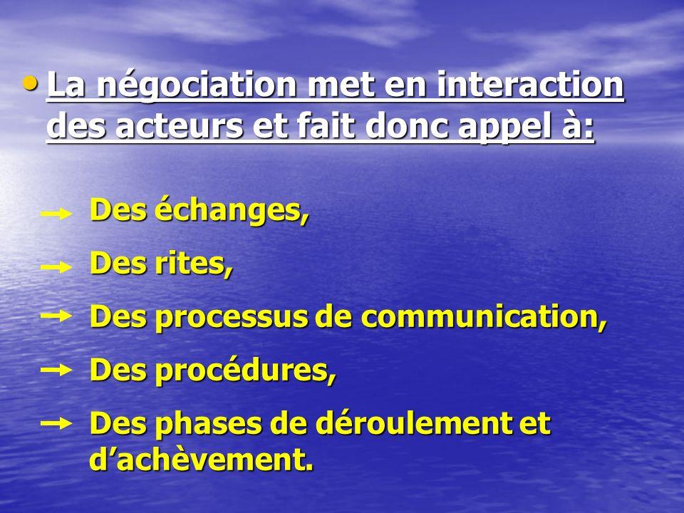 La négociation met en interaction des acteurs et fait donc appel à:
