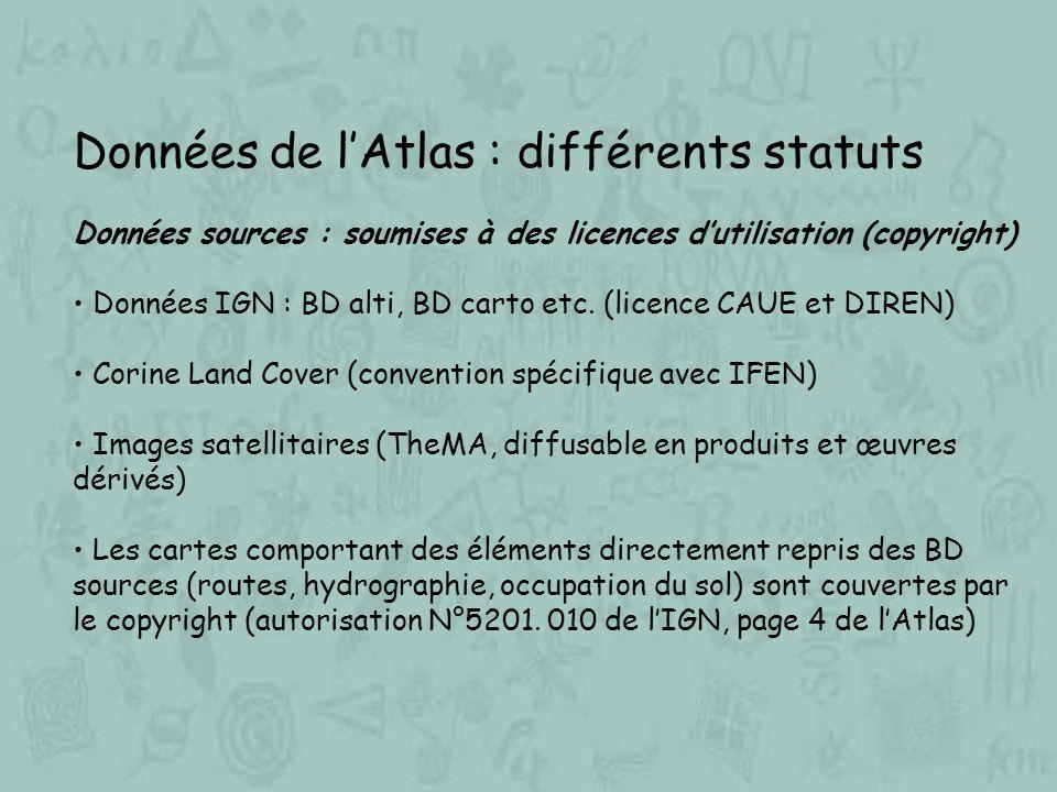 Données de l'Atlas : différents statuts