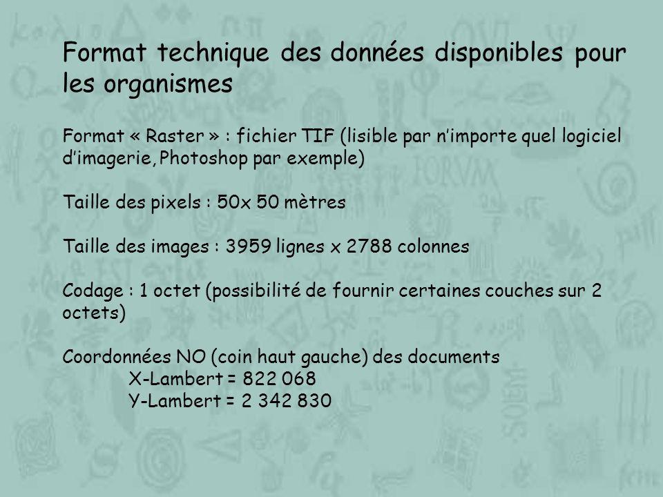 Format technique des données disponibles pour les organismes