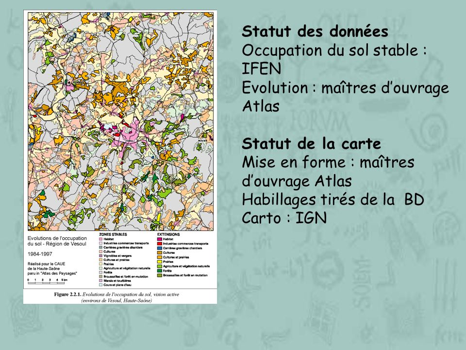 Statut des données Occupation du sol stable : IFEN. Evolution : maîtres d'ouvrage Atlas. Statut de la carte.