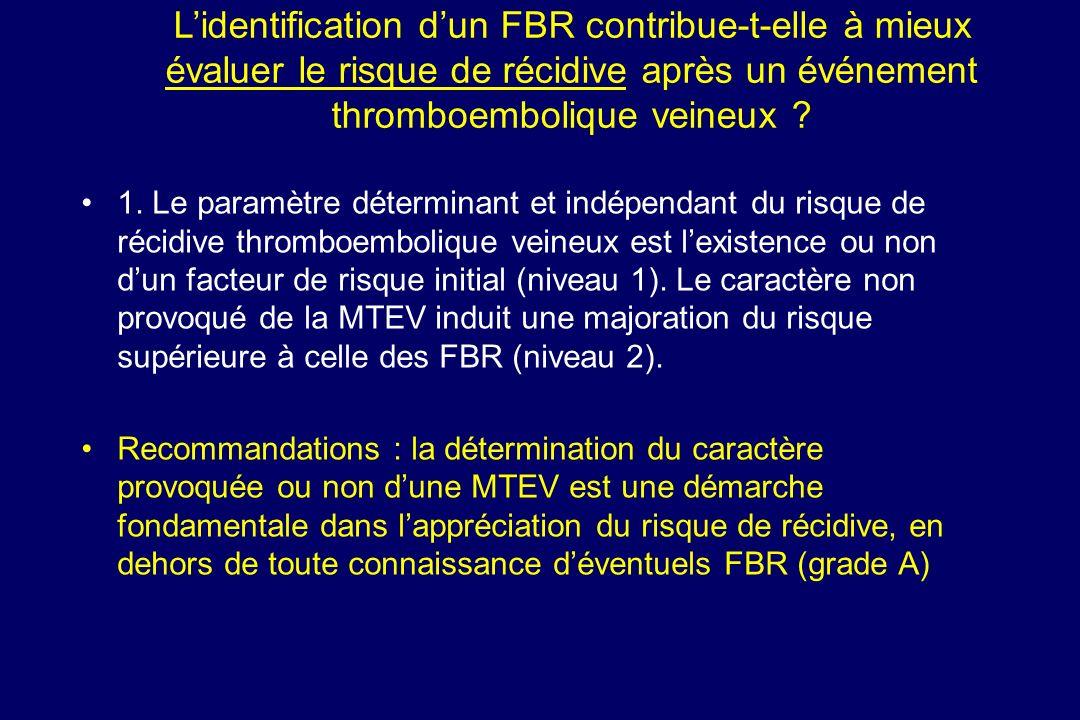 L'identification d'un FBR contribue-t-elle à mieux évaluer le risque de récidive après un événement thromboembolique veineux