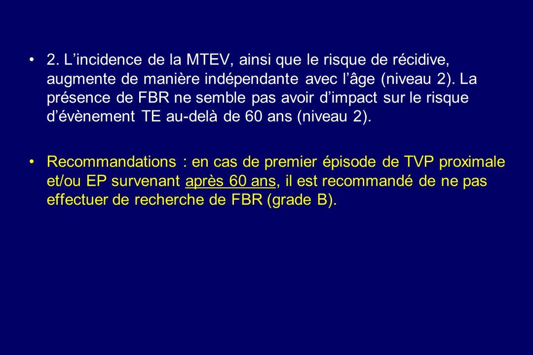 2. L'incidence de la MTEV, ainsi que le risque de récidive, augmente de manière indépendante avec l'âge (niveau 2). La présence de FBR ne semble pas avoir d'impact sur le risque d'évènement TE au-delà de 60 ans (niveau 2).