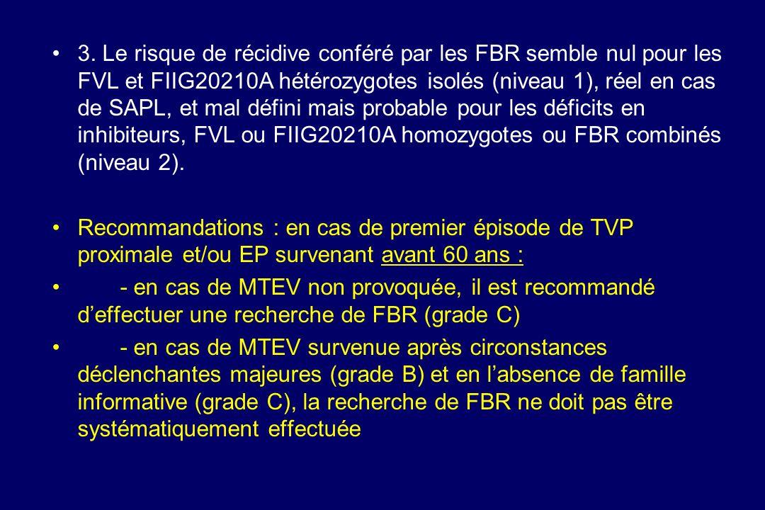 3. Le risque de récidive conféré par les FBR semble nul pour les FVL et FIIG20210A hétérozygotes isolés (niveau 1), réel en cas de SAPL, et mal défini mais probable pour les déficits en inhibiteurs, FVL ou FIIG20210A homozygotes ou FBR combinés (niveau 2).