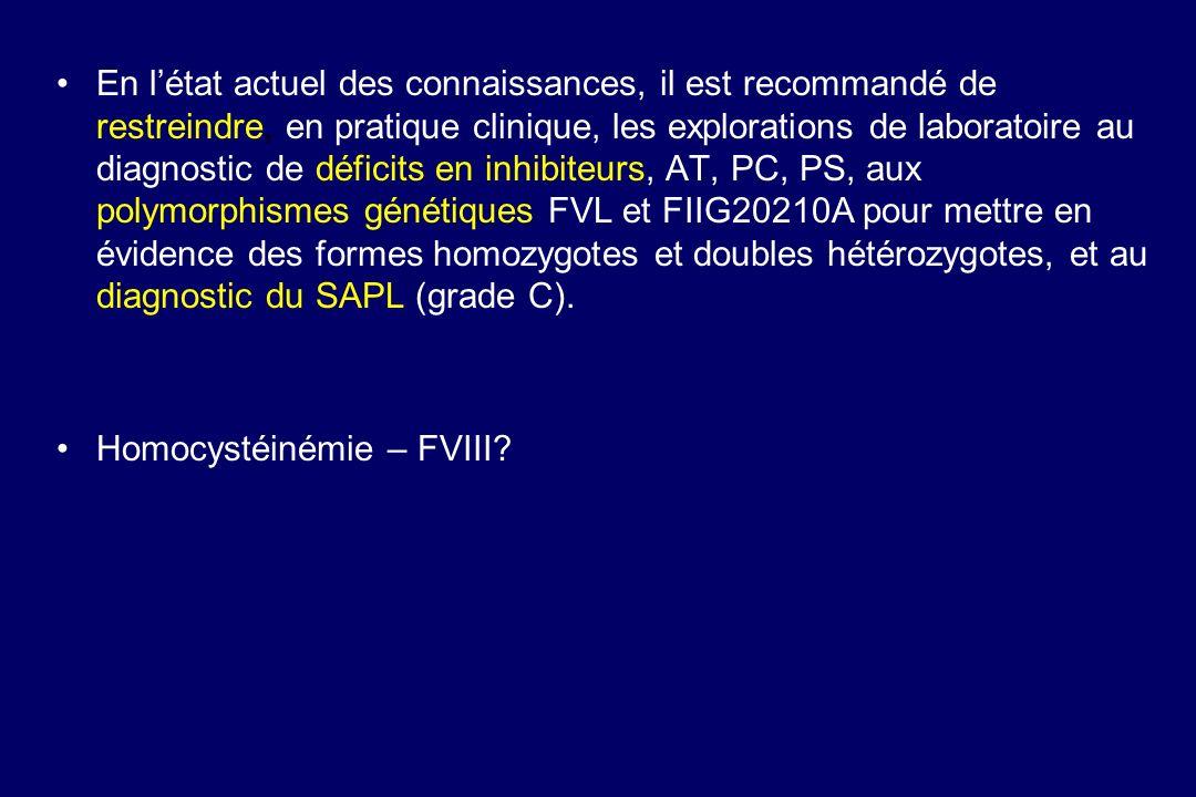 En l'état actuel des connaissances, il est recommandé de restreindre, en pratique clinique, les explorations de laboratoire au diagnostic de déficits en inhibiteurs, AT, PC, PS, aux polymorphismes génétiques FVL et FIIG20210A pour mettre en évidence des formes homozygotes et doubles hétérozygotes, et au diagnostic du SAPL (grade C).