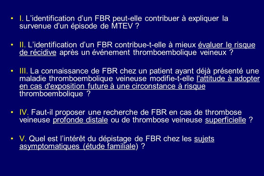 I. L'identification d'un FBR peut-elle contribuer à expliquer la survenue d'un épisode de MTEV