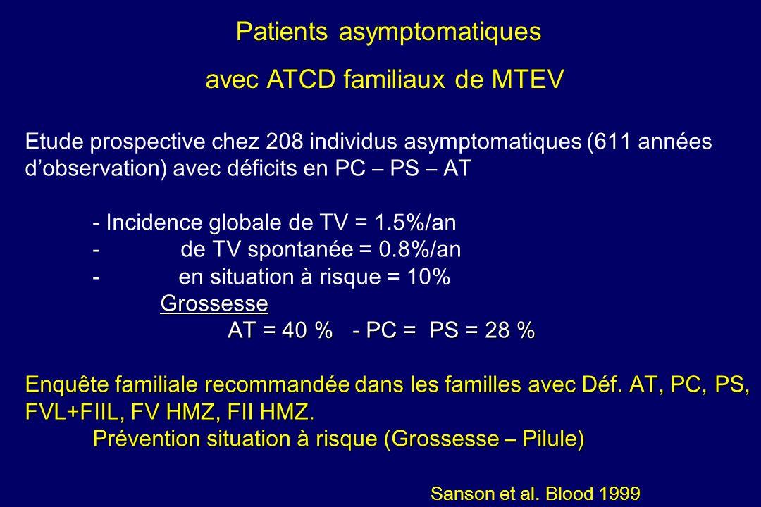 Patients asymptomatiques avec ATCD familiaux de MTEV
