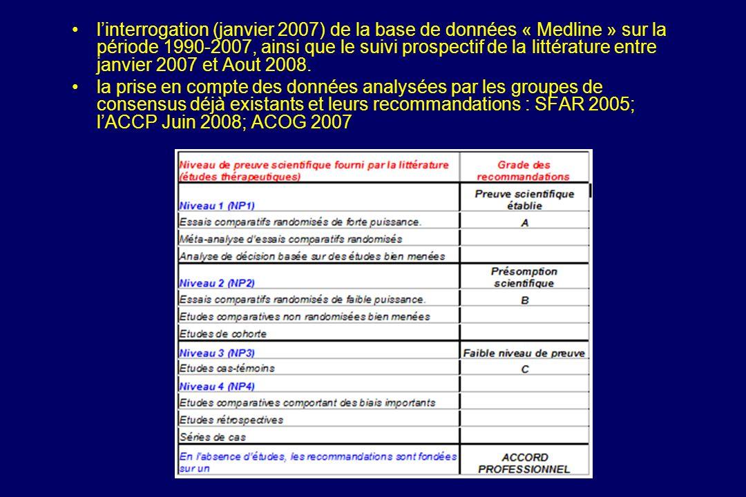 l'interrogation (janvier 2007) de la base de données « Medline » sur la période 1990-2007, ainsi que le suivi prospectif de la littérature entre janvier 2007 et Aout 2008.