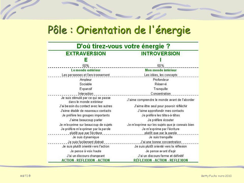 Pôle : Orientation de l énergie