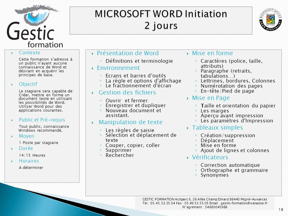 MICROSOFT WORD Initiation 2 jours