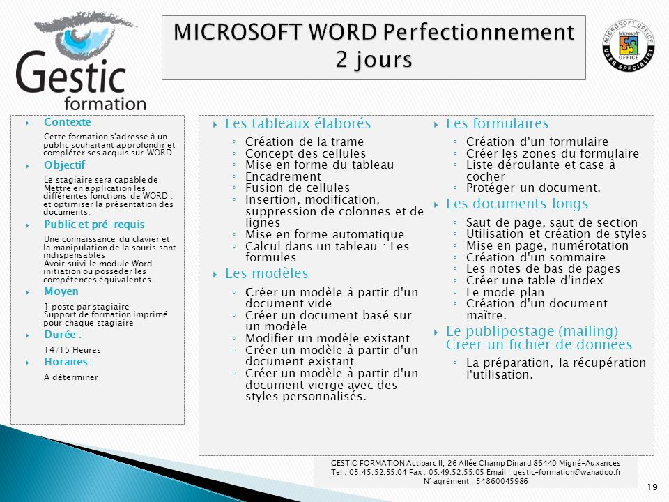 MICROSOFT WORD Perfectionnement 2 jours