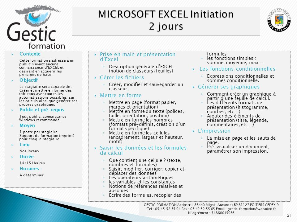 MICROSOFT EXCEL Initiation 2 jours