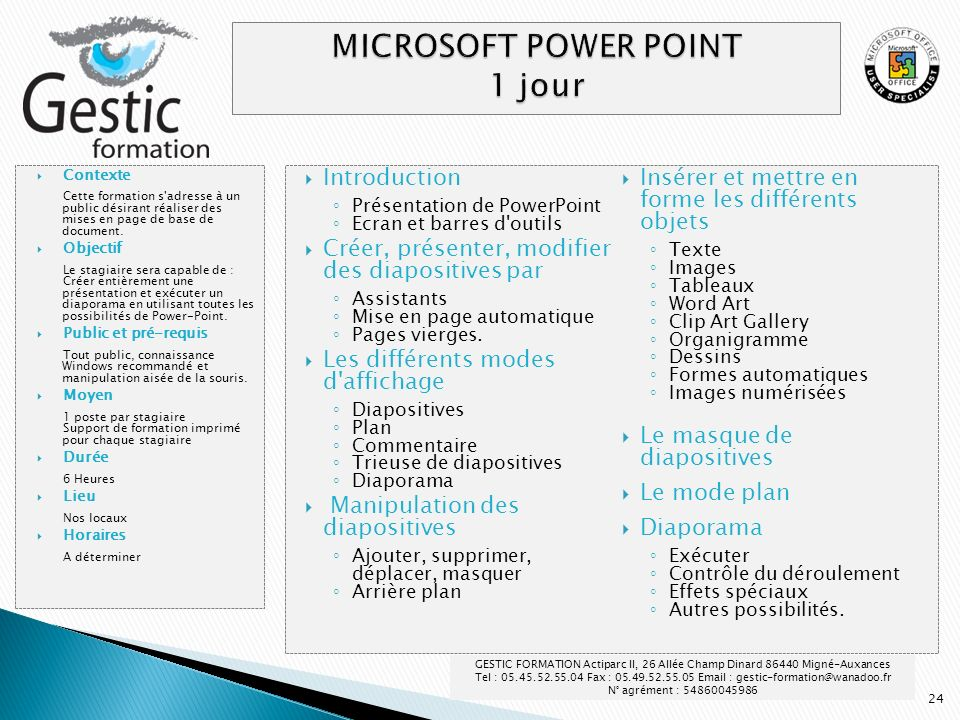MICROSOFT POWER POINT 1 jour