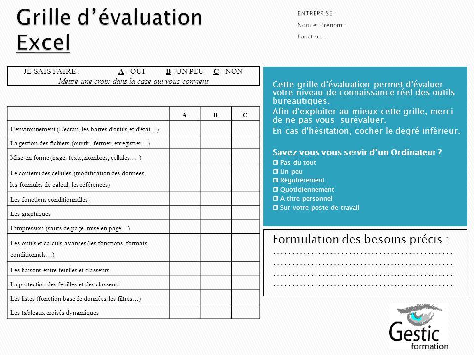 Grille d'évaluation Excel