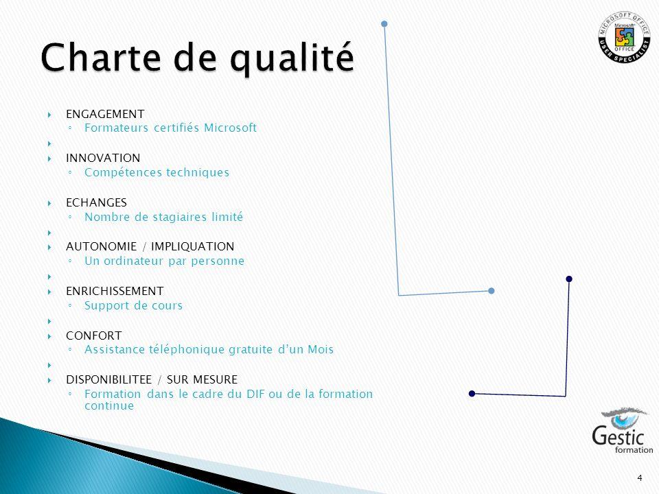 Charte de qualité ENGAGEMENT Formateurs certifiés Microsoft INNOVATION