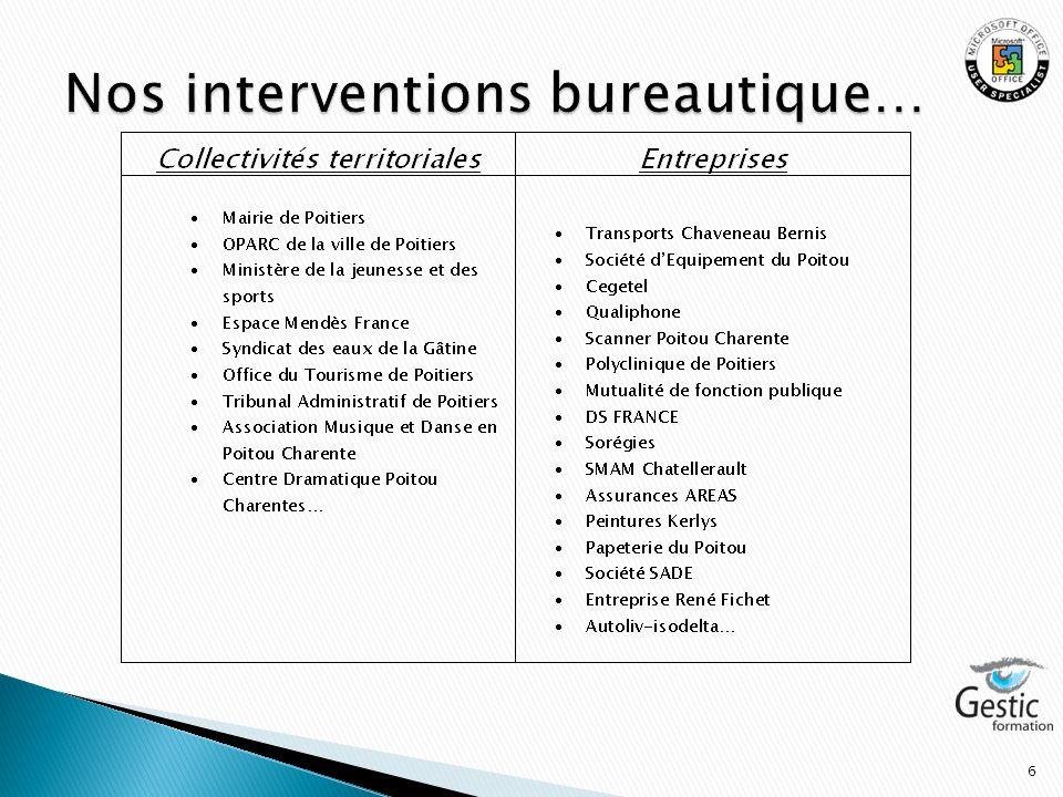 Nos interventions bureautique…
