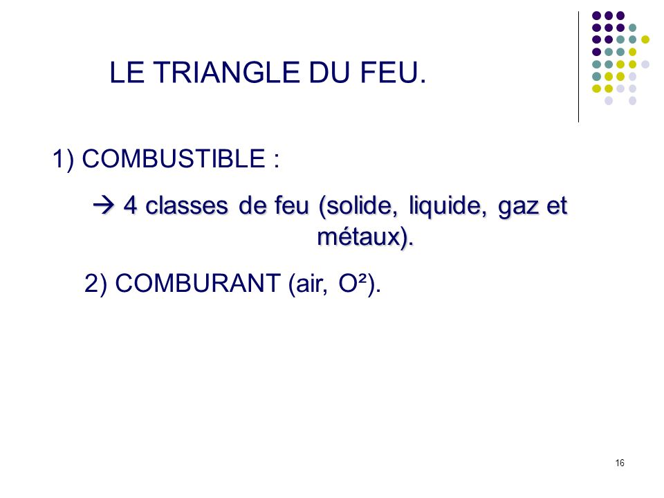 LE TRIANGLE DU FEU. 1) COMBUSTIBLE :