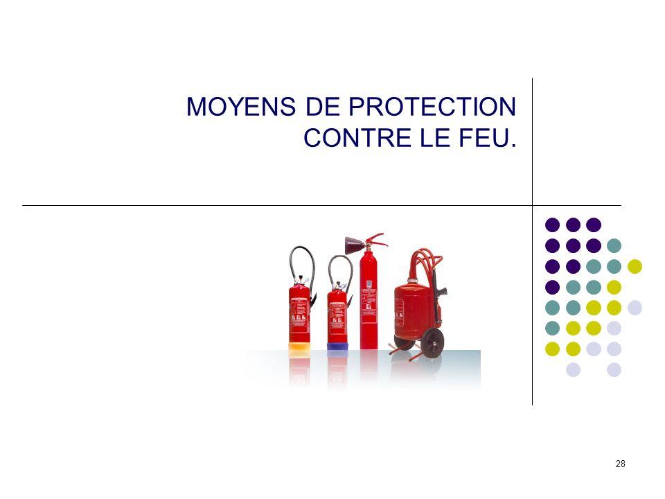 MOYENS DE PROTECTION CONTRE LE FEU.
