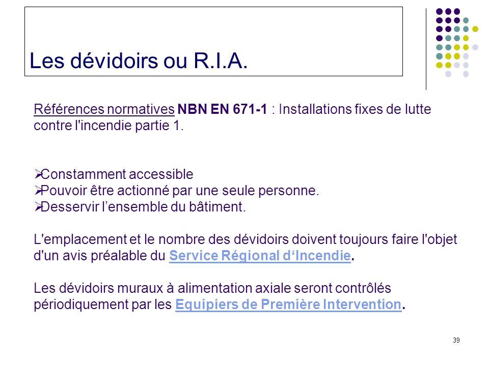 Les dévidoirs ou R.I.A. Références normatives NBN EN 671-1 : Installations fixes de lutte contre l incendie partie 1.