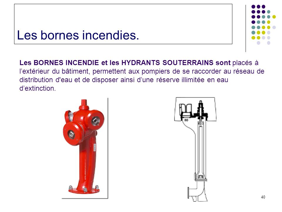 Les bornes incendies.
