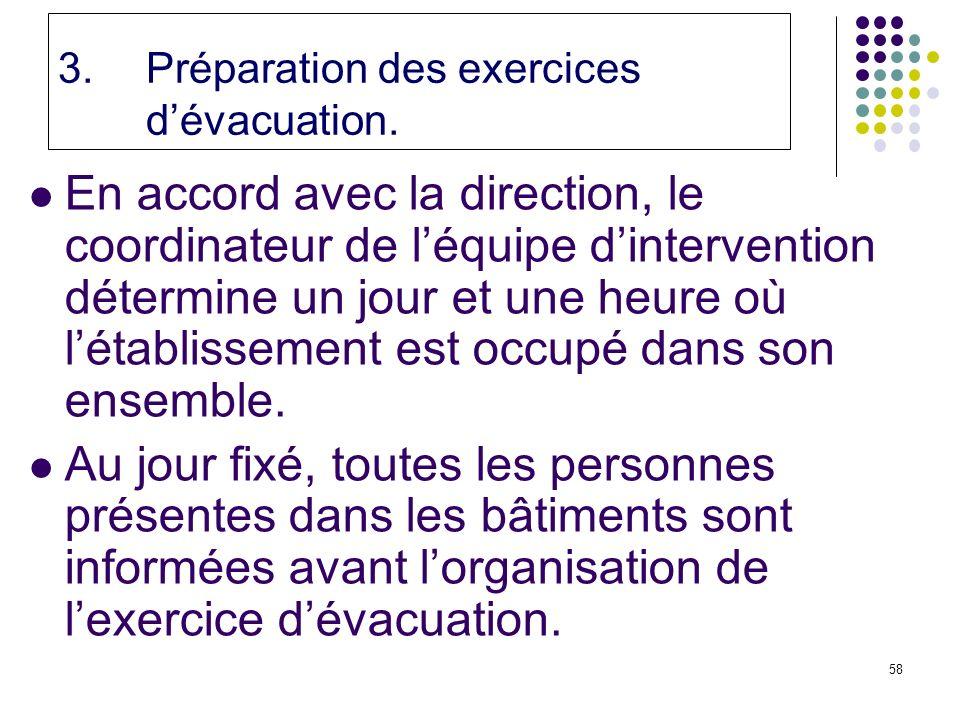 Préparation des exercices d'évacuation.