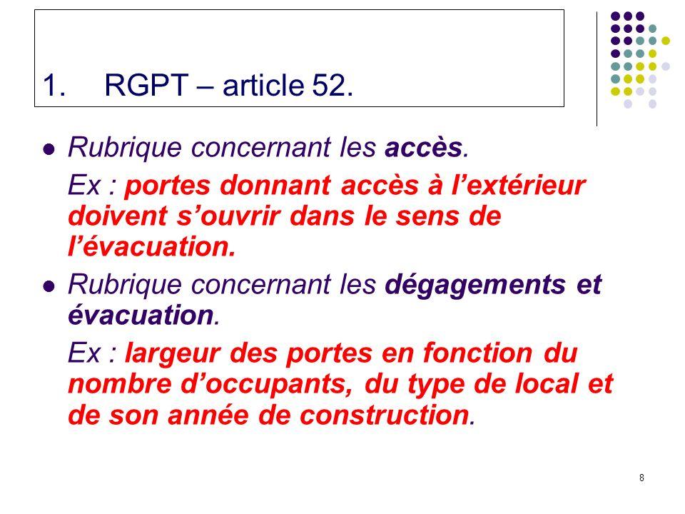 RGPT – article 52. Rubrique concernant les accès.