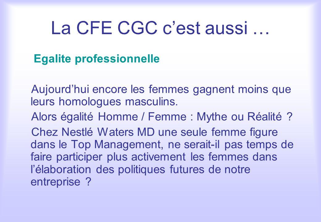 La CFE CGC c'est aussi … Egalite professionnelle