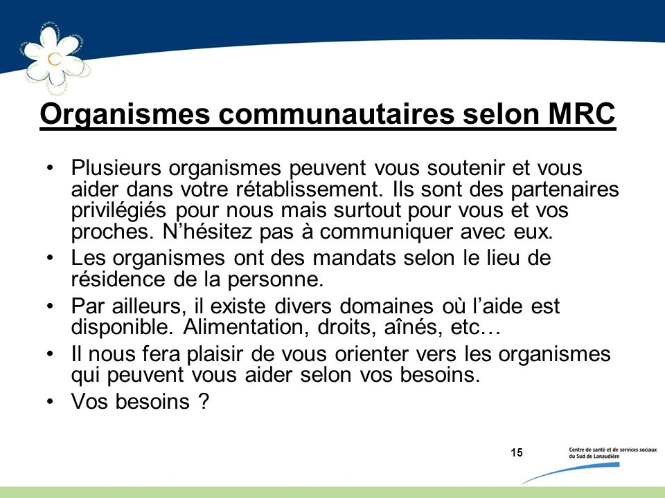 Organismes communautaires selon MRC