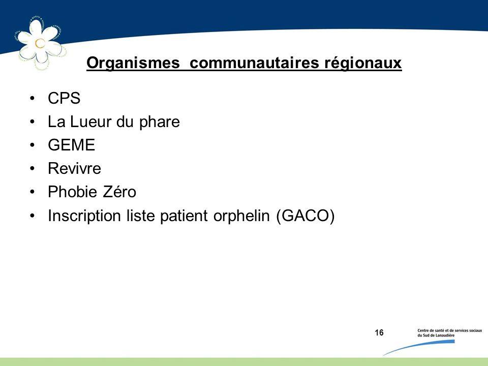 Organismes communautaires régionaux
