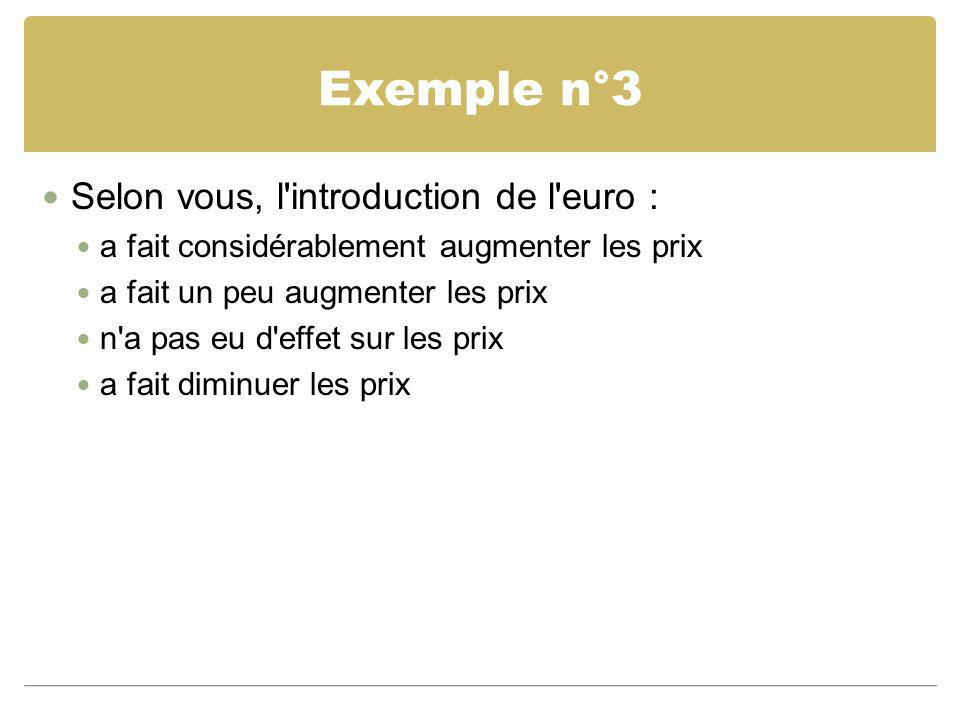 Exemple n°3 Selon vous, l introduction de l euro :