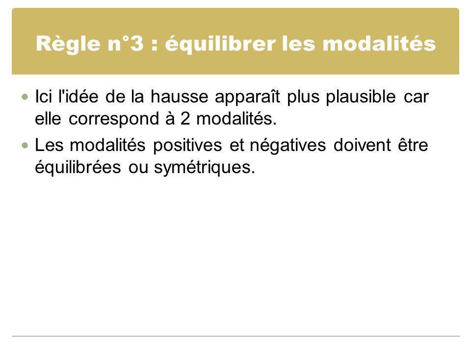 Règle n°3 : équilibrer les modalités