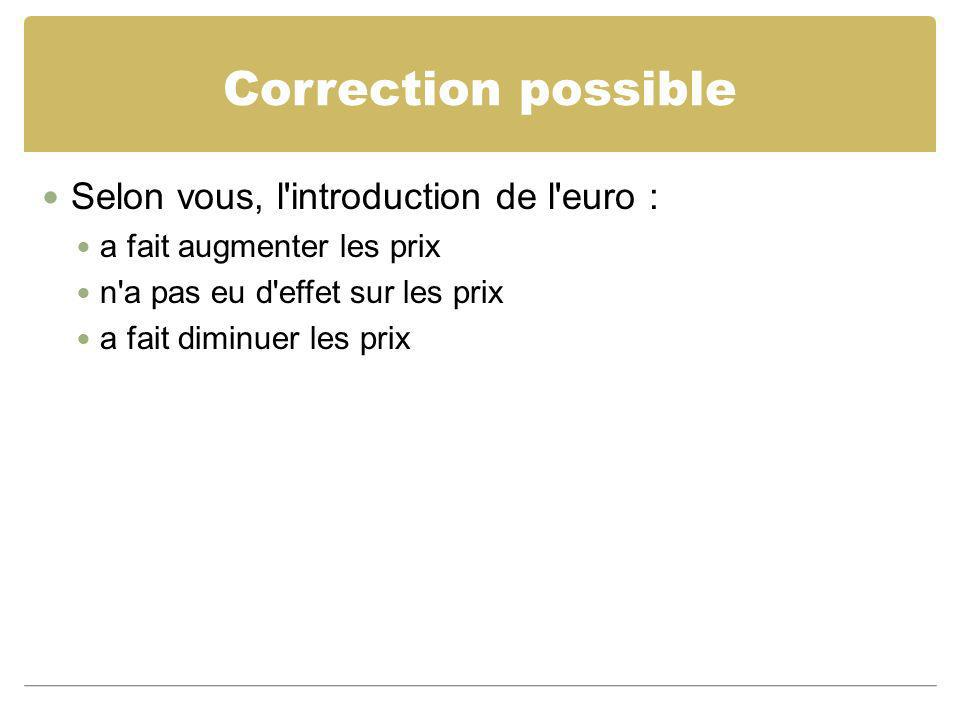 Correction possible Selon vous, l introduction de l euro :
