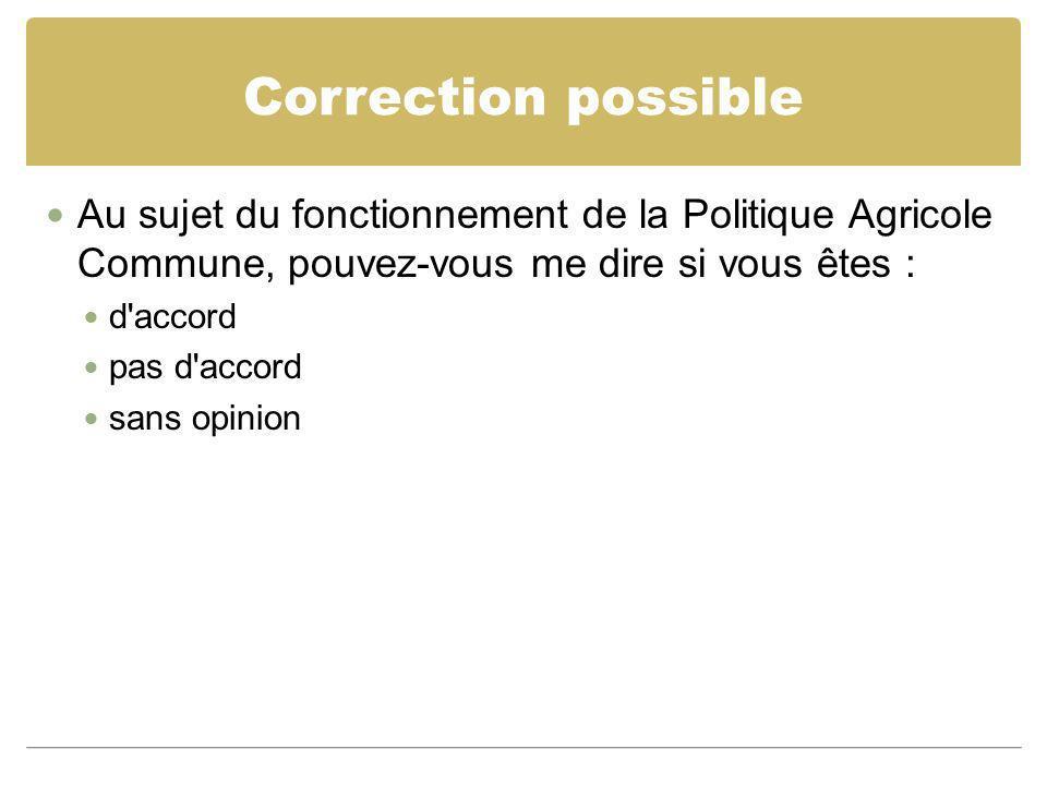 Correction possible Au sujet du fonctionnement de la Politique Agricole Commune, pouvez-vous me dire si vous êtes :
