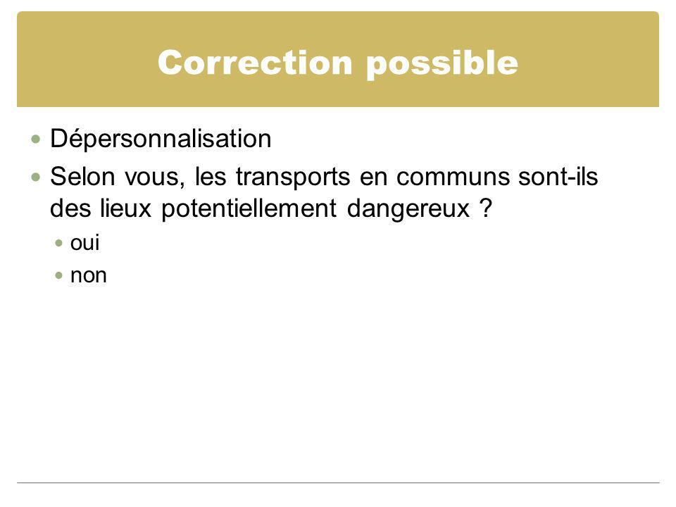 Correction possible Dépersonnalisation