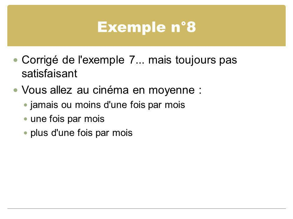 Exemple n°8 Corrigé de l exemple 7... mais toujours pas satisfaisant