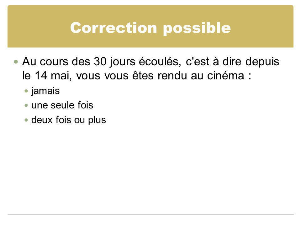 Correction possible Au cours des 30 jours écoulés, c est à dire depuis le 14 mai, vous vous êtes rendu au cinéma :