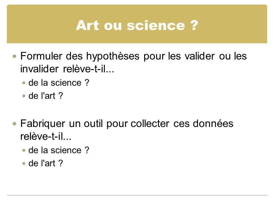 Art ou science Formuler des hypothèses pour les valider ou les invalider relève-t-il... de la science