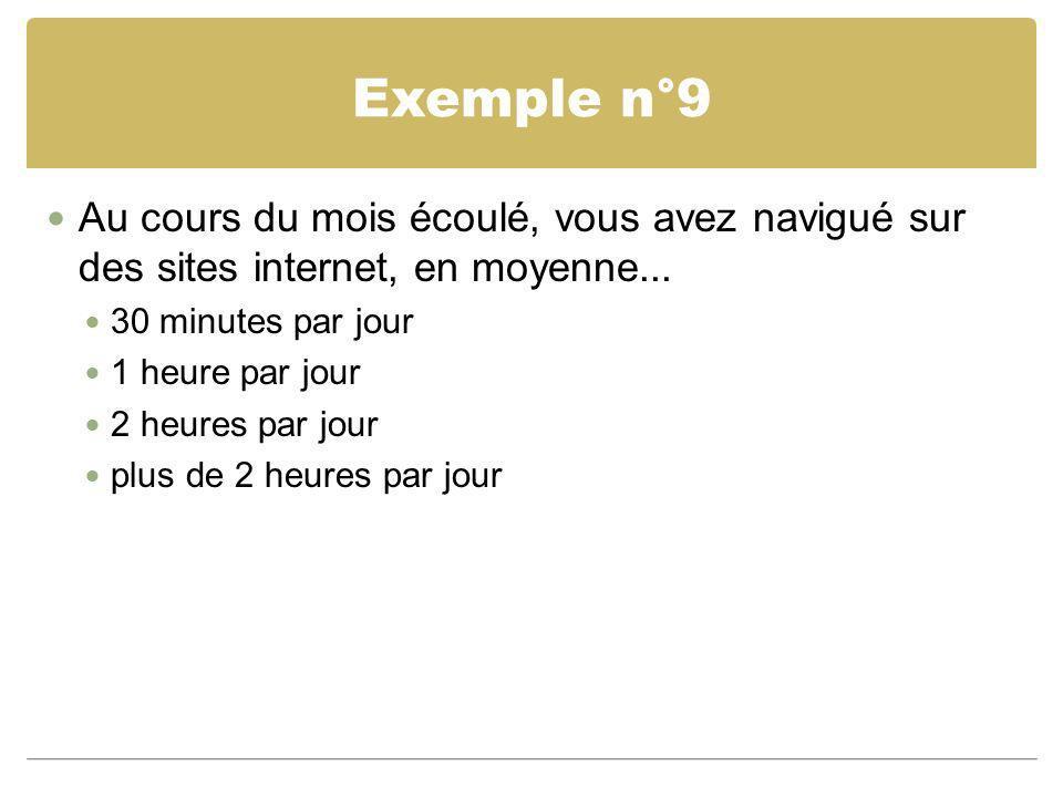 Exemple n°9 Au cours du mois écoulé, vous avez navigué sur des sites internet, en moyenne... 30 minutes par jour.
