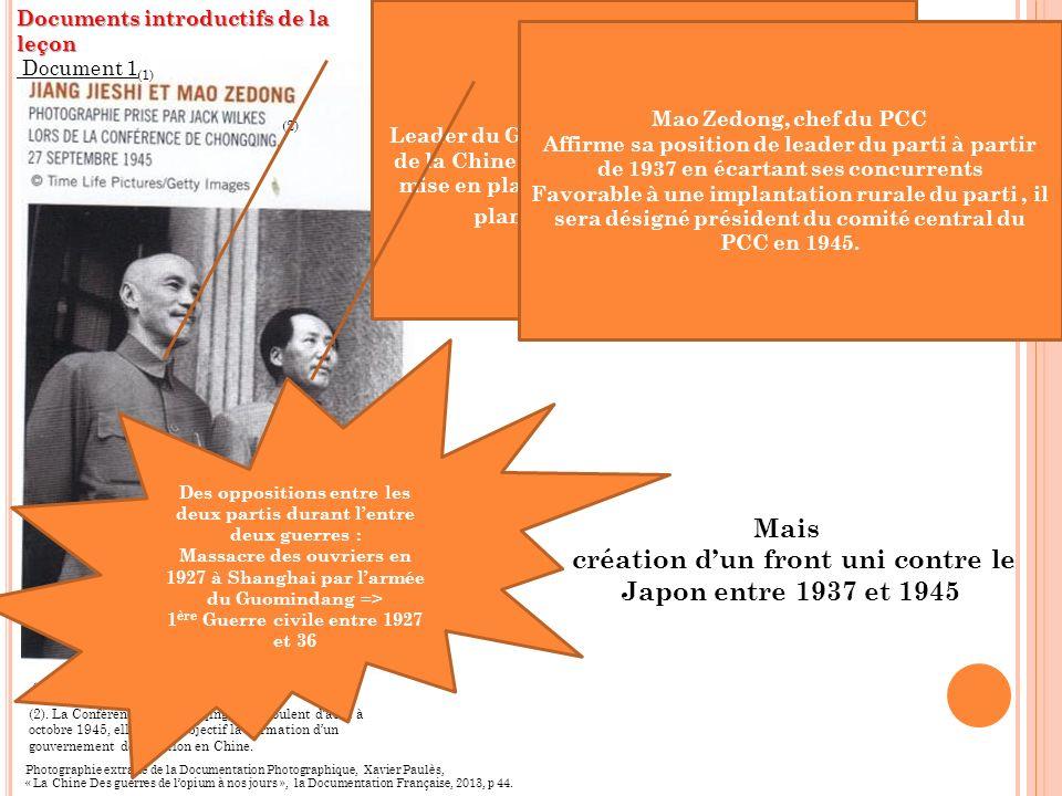 Mais création d'un front uni contre le Japon entre 1937 et 1945